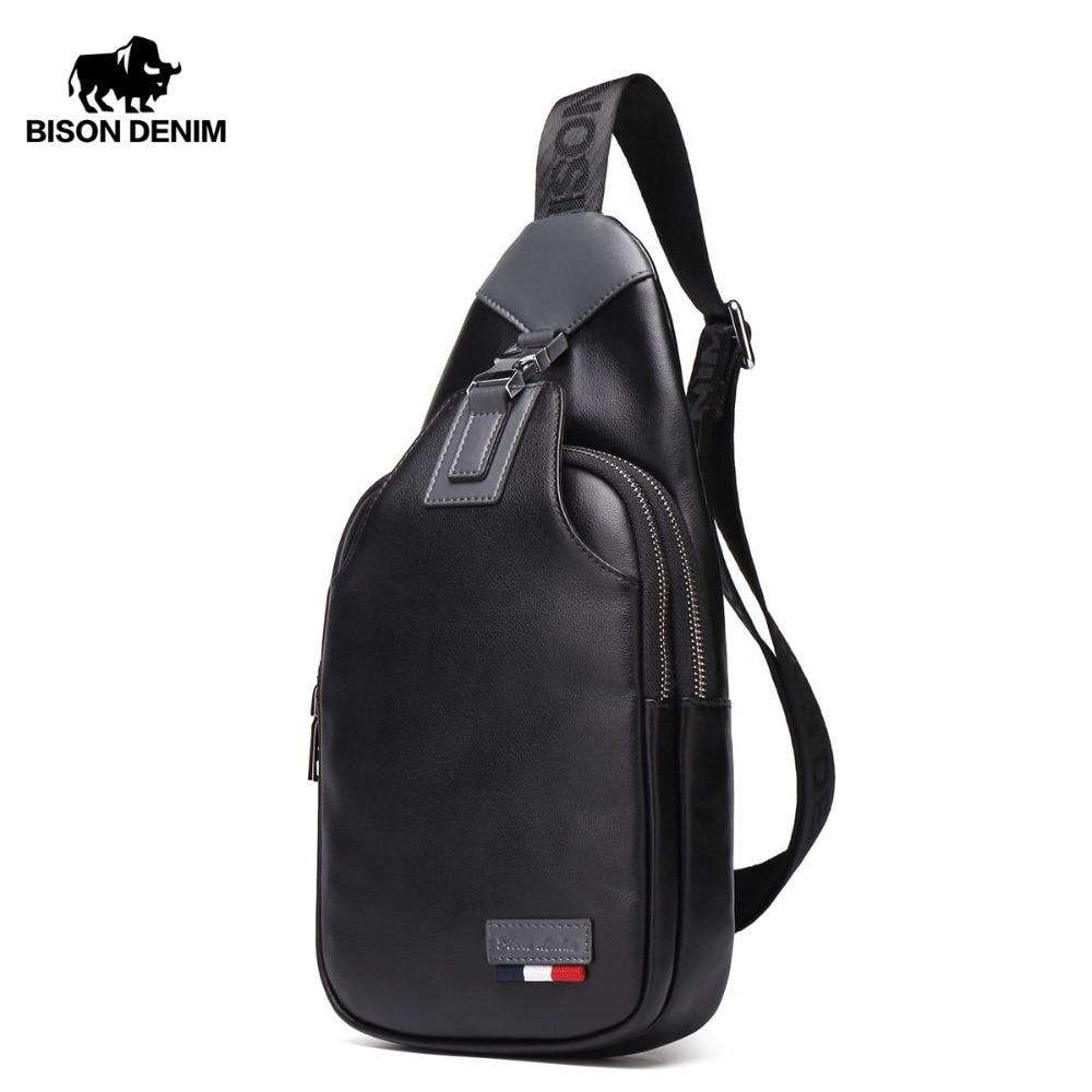 BISON DENIM Crossbody Bags Men Genuine Leather Casual Messenger Bag Small Brand Design Male Shoulder Bag Chest Waist Pack N2492
