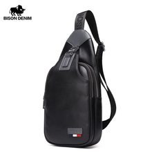 BISON DENIM Crossbody Bags Men Genuine Leather Casual Messenger Bag Small Brand Design Male Shoulder Bag Chest Waist Pack N2492(China)