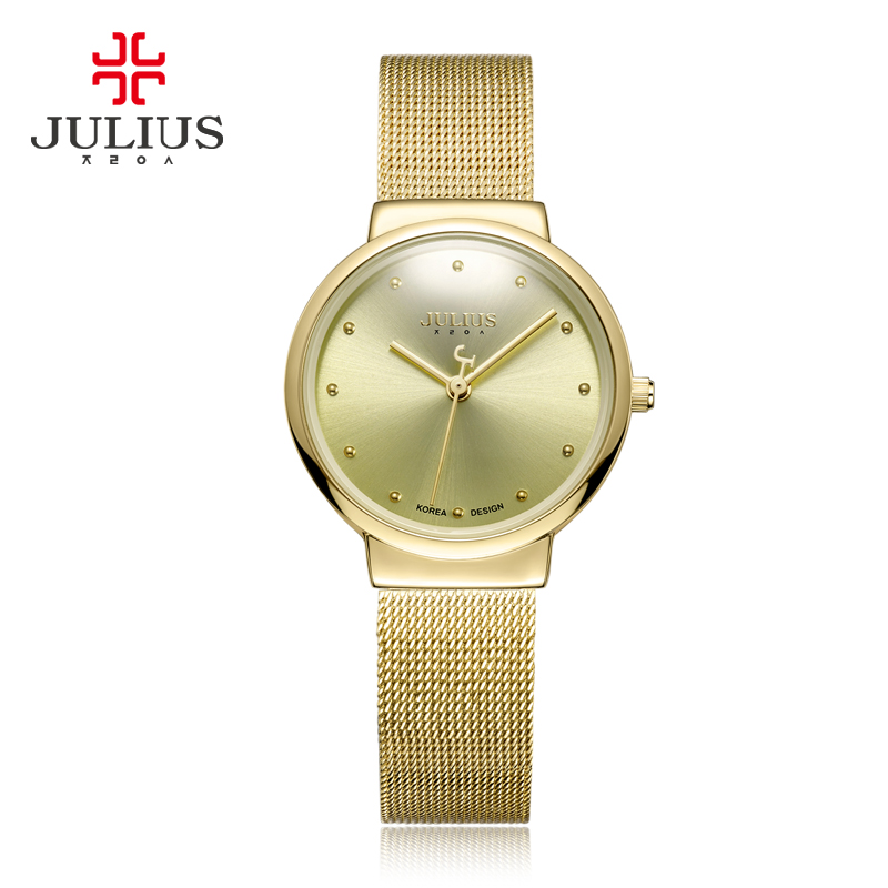 JULIUS JA-426L Men And Women Ultra-thin Stainless Steel Fashion Casual Watch Men And Women Waterproof 30 Meters Watch