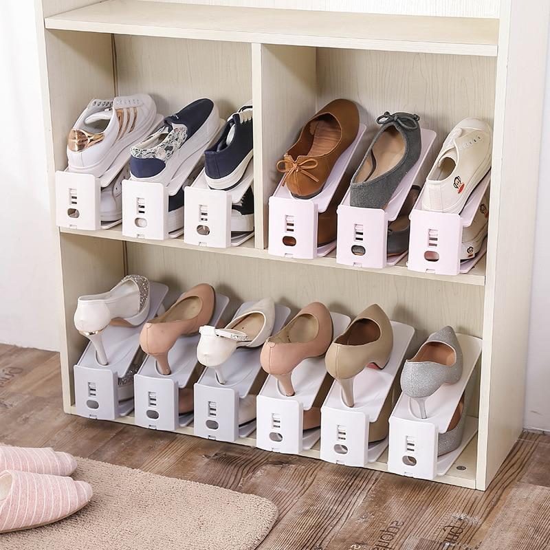 Verstelbare display schoenenrekken dubbele ruimtebesparende plastic - Home opslag en organisatie