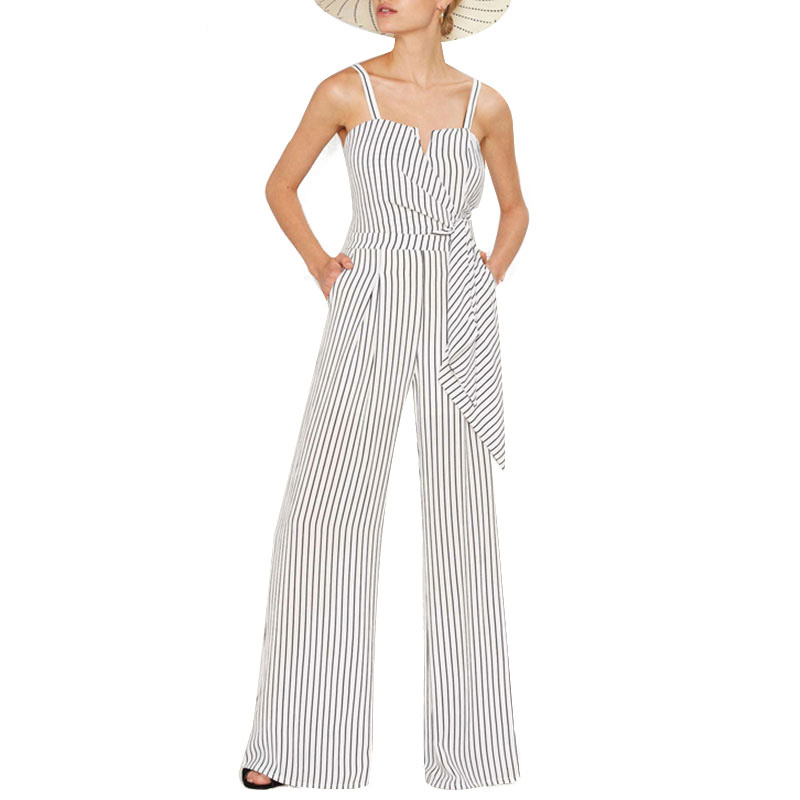 Striped Print Women Jumpsuits Sexy Spaghetti Strap Wrap Tie Waist Rompers Elegant Party Female Playsuit For Wholesale