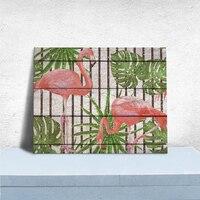 HAOCHU Legno Sfondo Stampa Su Tela Pittura Decorativa Flamingo Fresca Semplice Hotel Soggiorno Arte Murale Stampa Home Decor