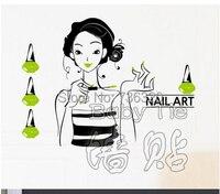 2015 섹시한 소녀 네일 비닐 벽 데칼 네일 살롱 미용사 미용 네일 매니큐어 벽 스티커 상점 창 유리 장식