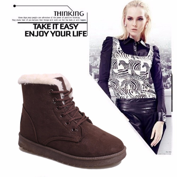 2016 Winter Woman Boots Lace-up Solid Flat Ankle Boots Casual Round Toe Woman Shoes Fashion Warm Plus Cotton Shoes ST903 (1)