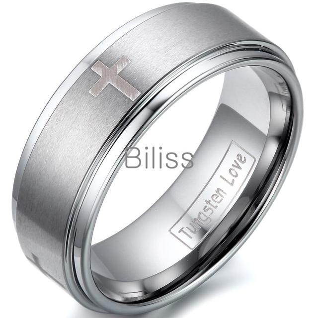 8mm Top Quality Cross Comfort Fit Silver Tungsten Carbide Ring For Men Aniversary Engagement Wedding Band anel masculino