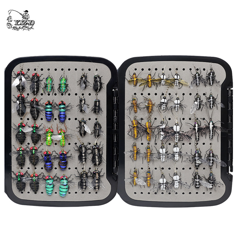 Realistic Mosquito House Fly Fishing Flies Set 60 pcs Insect Baits for Trout Muskie Dry Fly