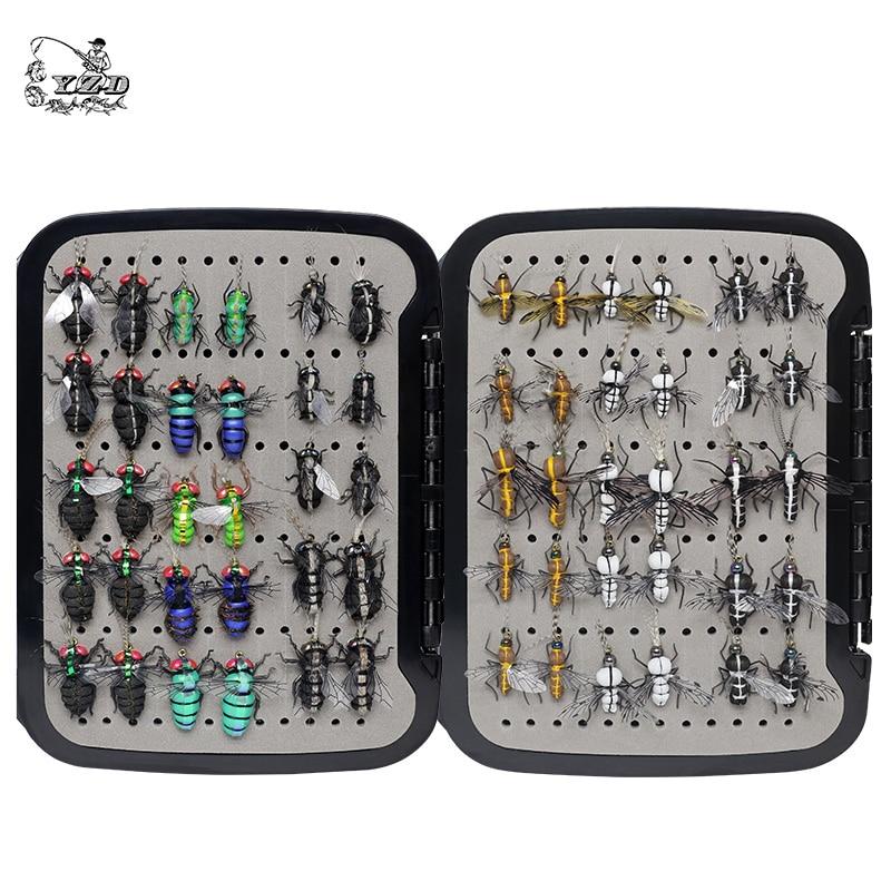 Realista mosquito casa mosca pesca moscas conjunto 60 pçs iscas de insetos para truta muskie seca mosca isca kit flyfishing