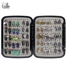 Juego de moscas de pesca con mosca, casa de mosquitos realista, 60 uds., cebos de insectos para trucha, musky, mosca seca, señuelo, equipo de pesca con mosca