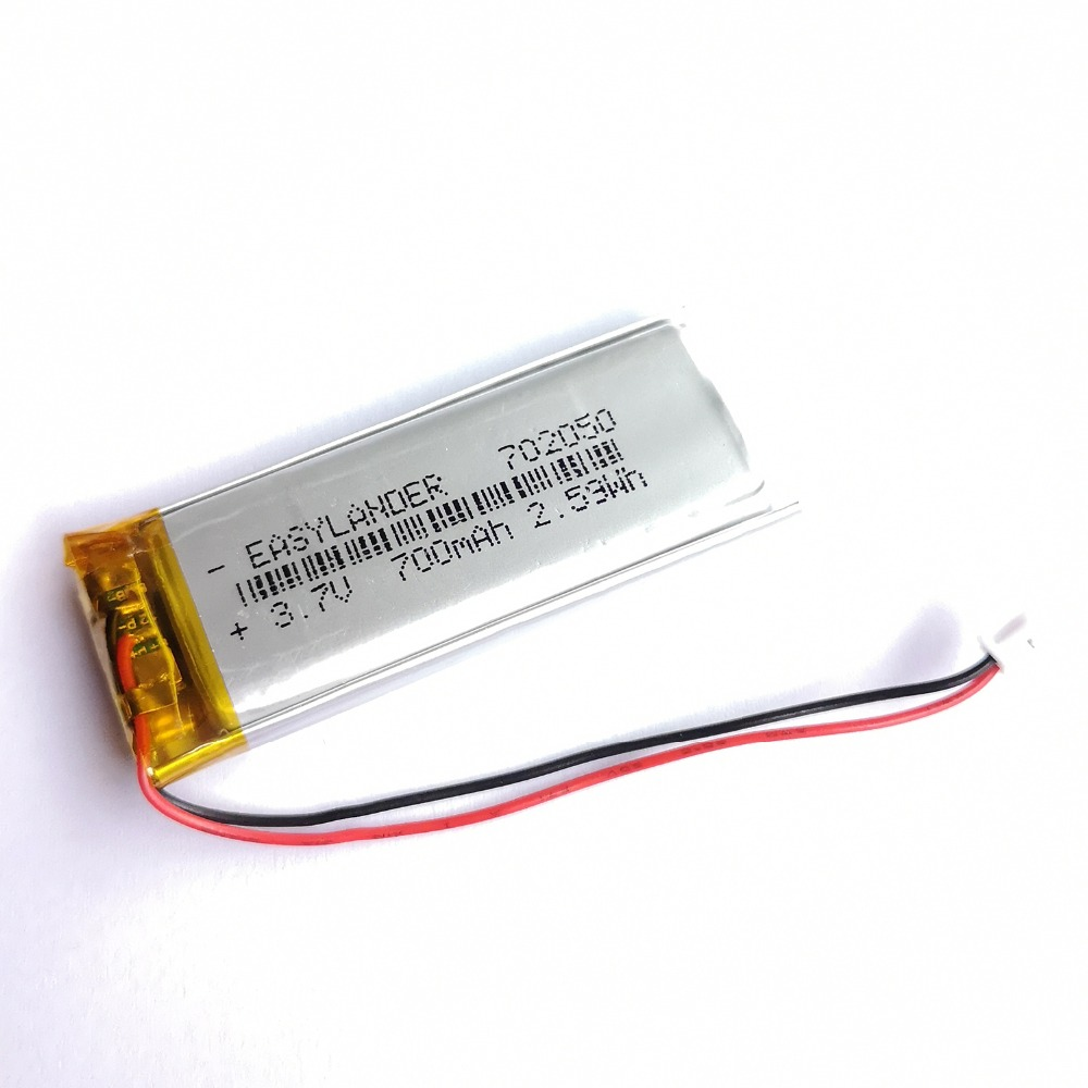 10Pcs/Lot JST 1 25mm 2 pin 3 7V 700mAh 702050 Lithium Polymer LiPo  Rechargeable Battery For Mp3 DVR PAD DVD bluetooth camera