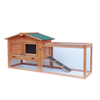 61 Waterproof Two tier Wooden Rabbit Hutch Cage Chicken Coop House Bunny Hen Pet Animal Backyard Ru