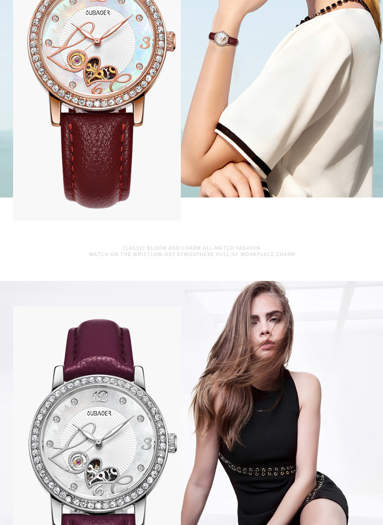 OUBAOER Automatic Mechanical Women Watch Top Brand Skeleton Luxury Genuine Leather Female Watches Classic Lady Clock Hot 2005B