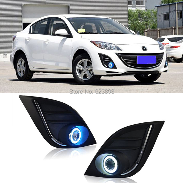 2x LED Daytime Running Lights DRL Projector Lens Fog Lights + COB Angel  Eyes Kit For