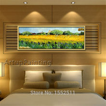Van Gogh Hand Painted Canvas Iris painting Flower wall Art pictures for living room Bed Room Home vintage decorative wallpaper