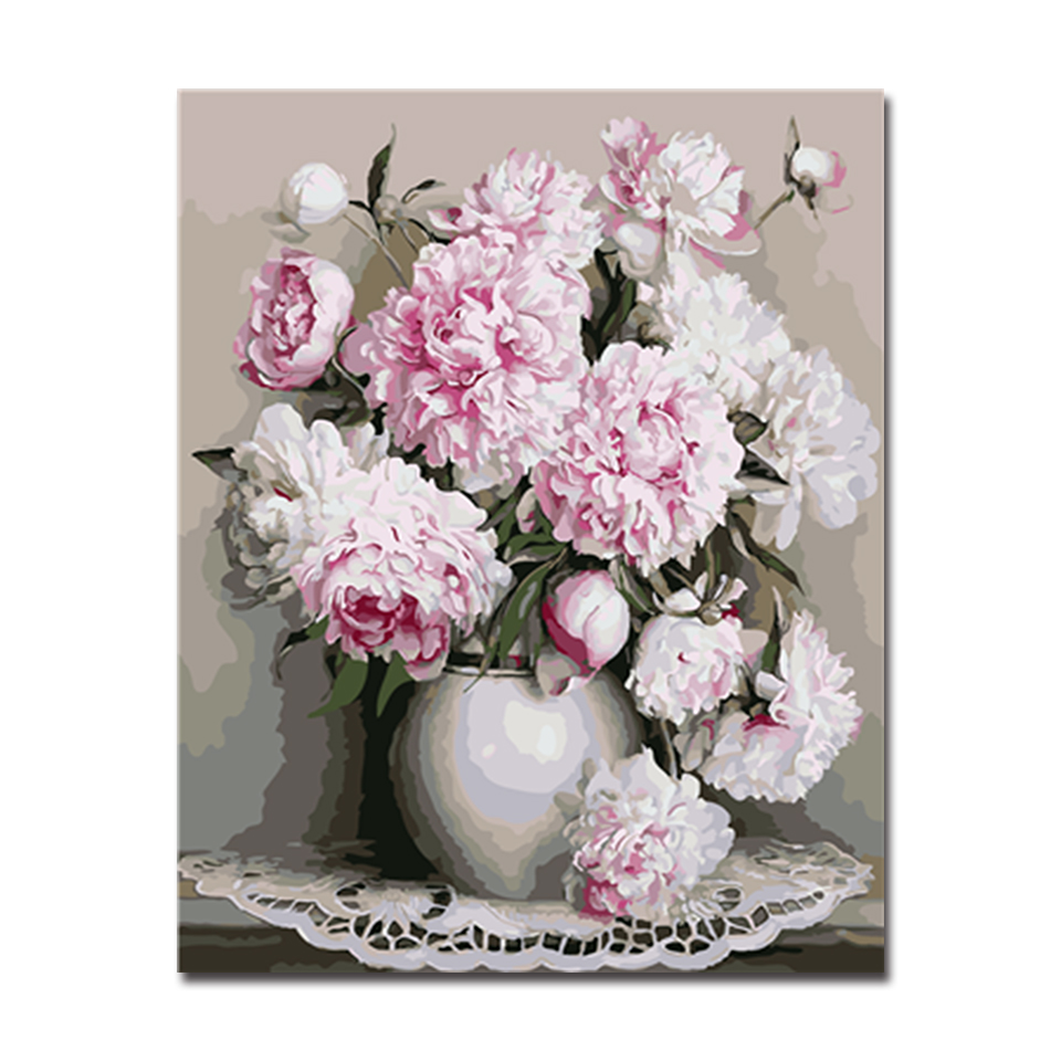 Framed Oil Painting By Numbers Diy Digital Handpainted Artwork White Peony Flowers Pictures On Canvas Living Room Wall Art Decor In Painting