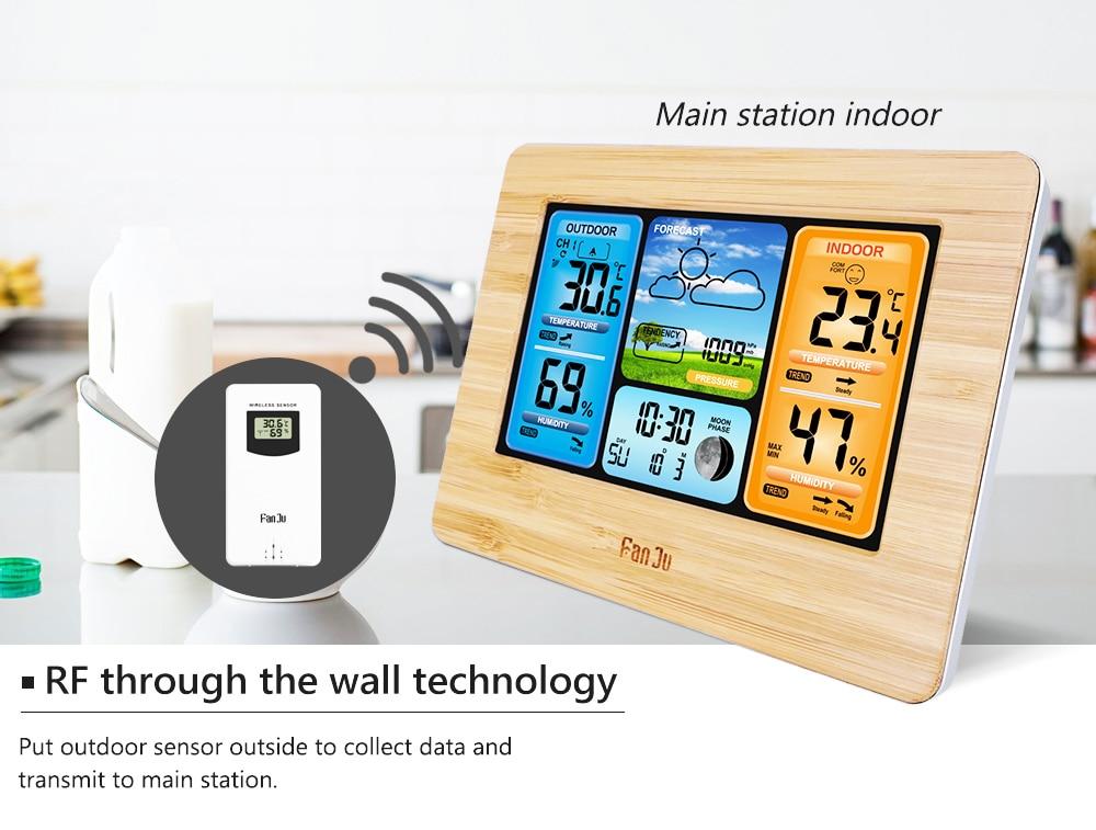 HTB1YttZV4YaK1RjSZFnq6y80pXaP FanJu FJ3373 Weather Station Digital Thermometer Hygrometer Wireless Sensor Forecast Temperature Watch Wall Desk Alarm Clock