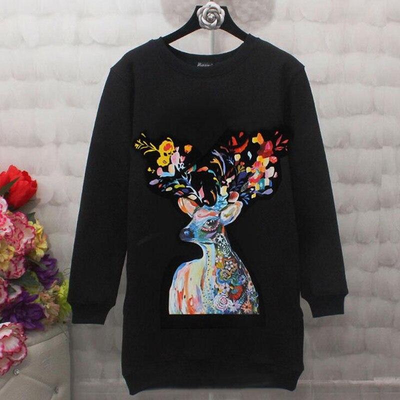 Donna Women Hoodies Sweatshirts Elegant Rainbow Colorful Deer Print Black White Casual Long Sleeve Pullover Sweatshirt W81S