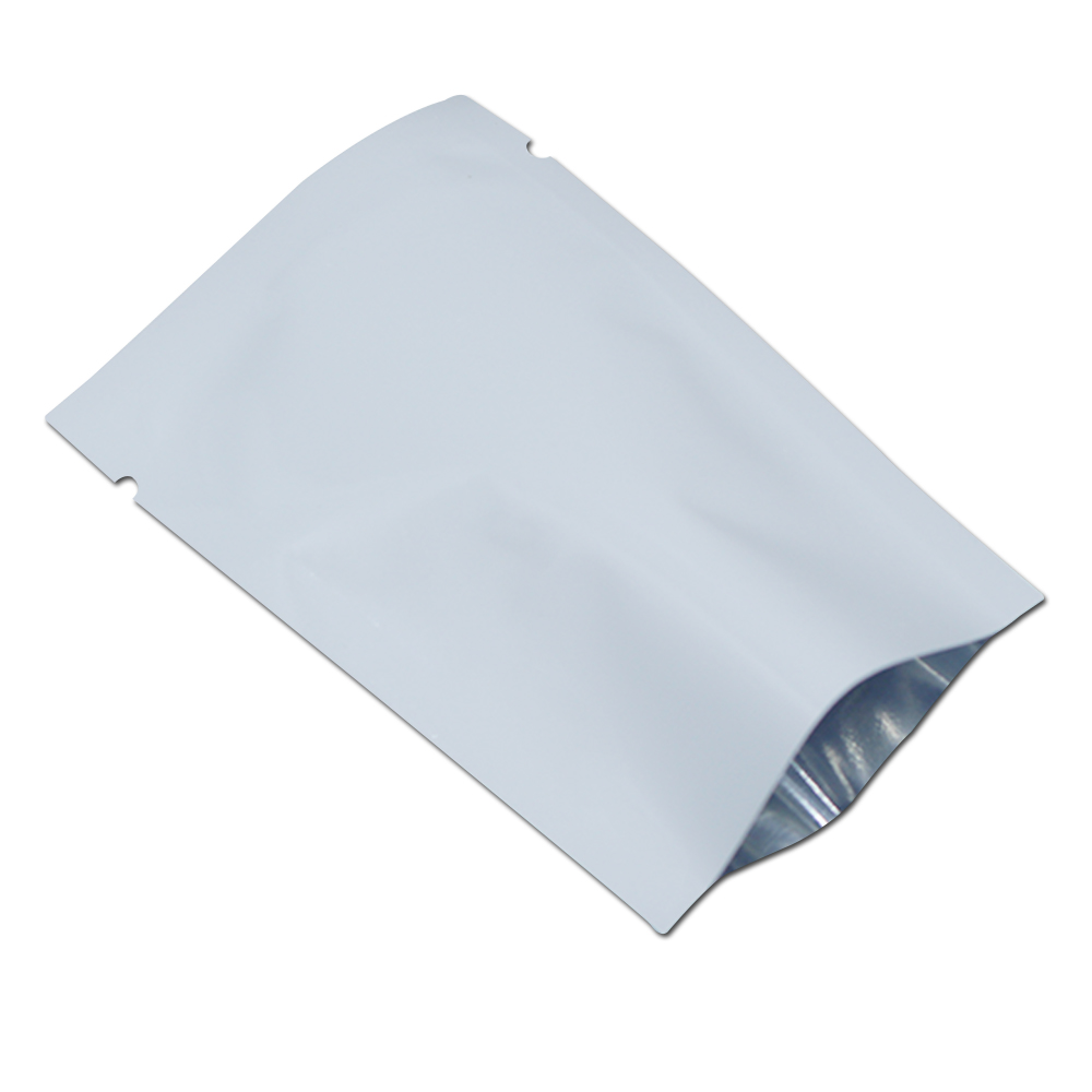 DHL White Open Top Aluminium Foil Tear Notch Pouch Plastic Packing Heat Seal Vacuum Bag For Food Tea Snack Storage Package Bags
