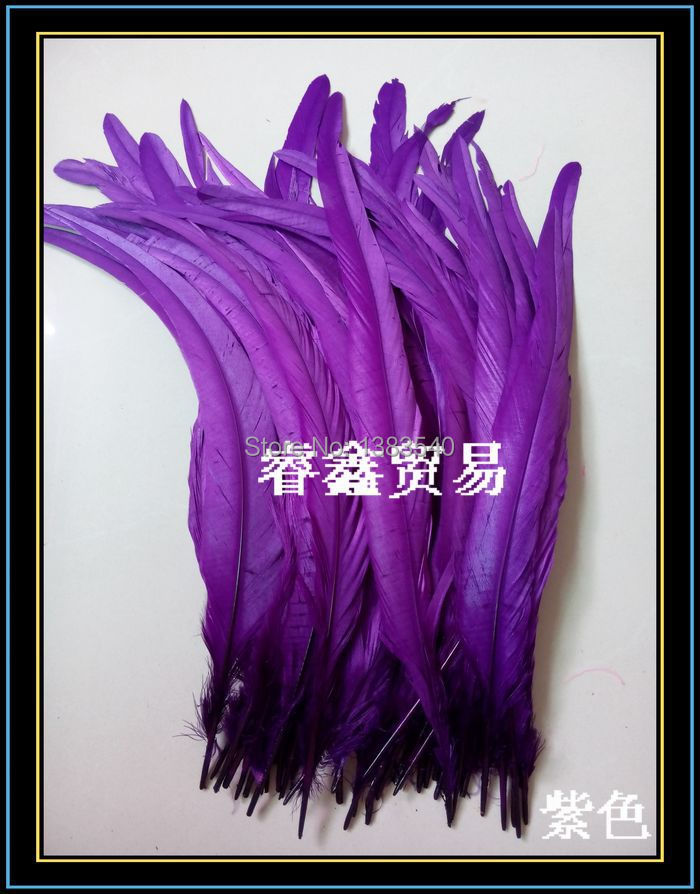 Wholesale! 100pcs natural rooster tail hair purple 30 35 cm / 12 14 inches