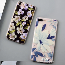 LACK Fashion Plants Leaves Flower Case For iphone 7 Case For iphne 7 Plus Back Cover Ultra thin Cartoon Floral Back Cover Capa