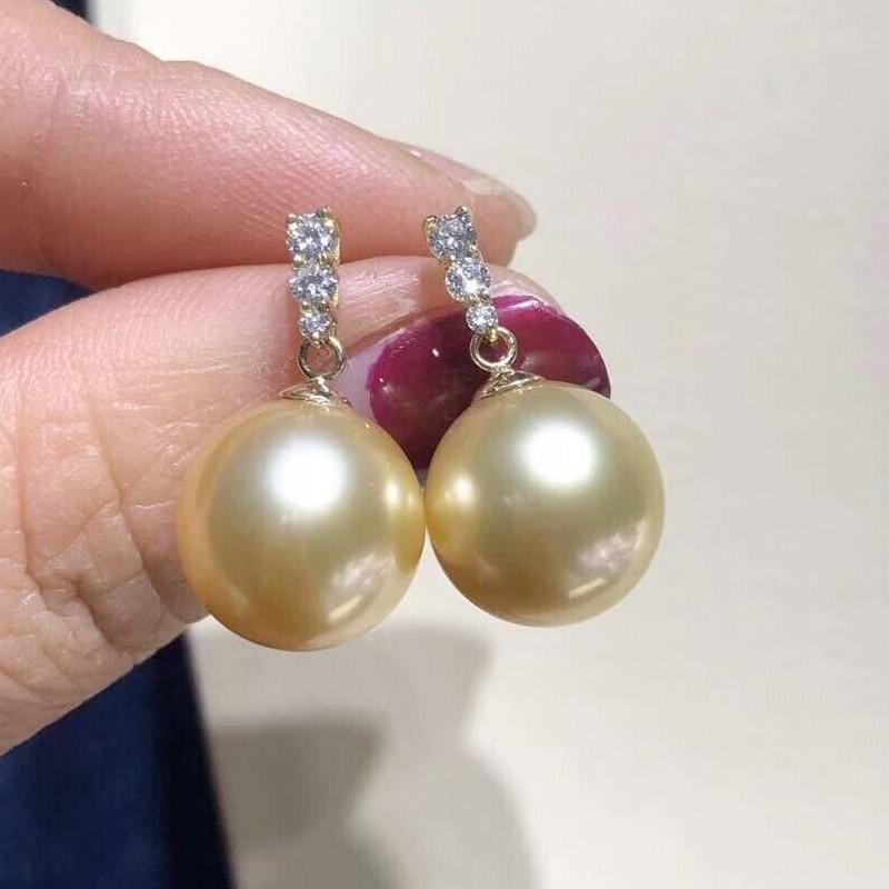 FENASY 14k gold earrings Big Size Natural round SouthSea Pearls Golden Pearl Earrings For Women luxury wedding jewelryFENASY 14k gold earrings Big Size Natural round SouthSea Pearls Golden Pearl Earrings For Women luxury wedding jewelry