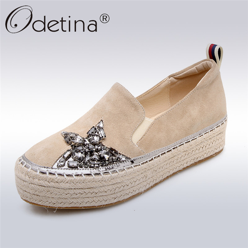 Odetina Spring Autumn New Fashion Suede Leather Espadrilles Loafers Women Straw Flat Platform Shoes Slip On Crystal Casual Shoes women fashion handmade lace espadrilles slip on casual canvas loafers ladies flat platform shoes