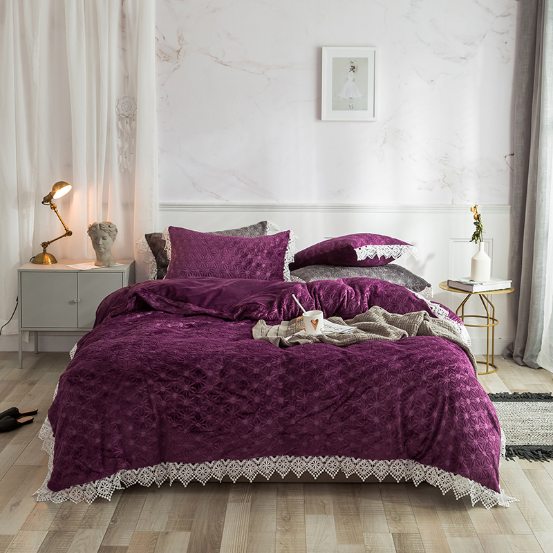 Purple Blue Pink Gray Winter Thick Flannel Bedding set Fleece Fabric Lace Duvet cover Bed Sheet Linen Pillowcase Queen King 4pcs in Bedding Sets from Home Garden