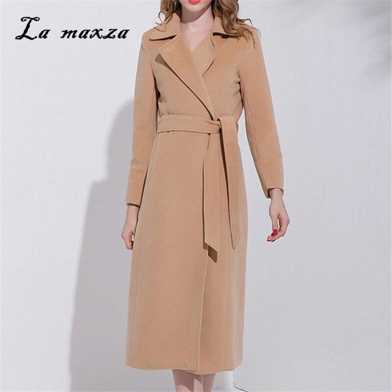 Plus Size 2020 New Arrivals Elegant Women Wool Coat Fashion Streetwear Long OL Slim Coat