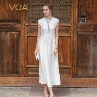 VOA 2017 Summer Silk Women White Maxi Dress Cute Preppy Style Beading Solid V Neck Plus