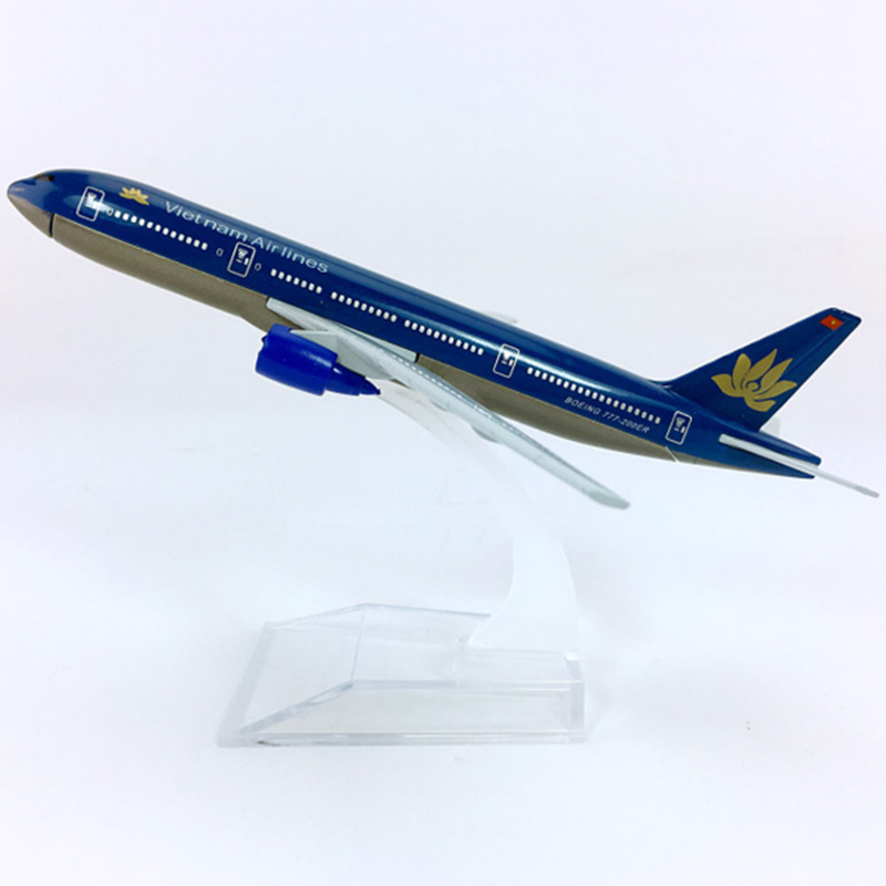 New Edition16CM 1/400 Boeing B777-200 Model Vietnam Airlines With Plastic Base Alloy Aircraft Collectibledisplay Model Collectio