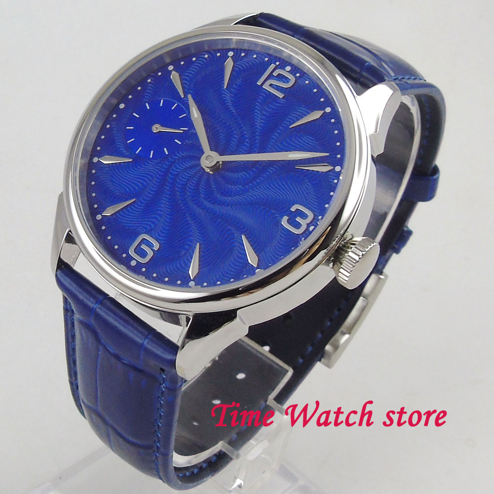 цена Classic 42mm men's watch special blue no logo dial silver marks Vintage 17 jewels Mechanical 6497 Hand Winding movement 2005 онлайн в 2017 году