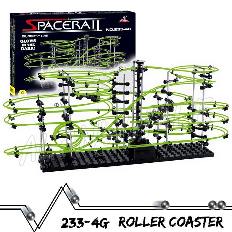 2200cm Rail Level 4 Marble Run Night Luminous Glow In The Dark Roller Coaster Model Building Kit Toy Maze Rolling ball Sculpture