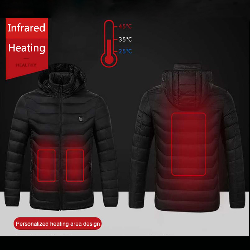 MAIJION invierno cálido senderismo chaquetas de los hombres las mujeres termostato inteligente con capucha Ropa calentada impermeable esquí escalada abrigo de lana