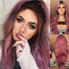 1pc Wig Lady Long Curly Hair Black Gradient Purple Red Dyed In Large Wave Volume Wig Set G0504