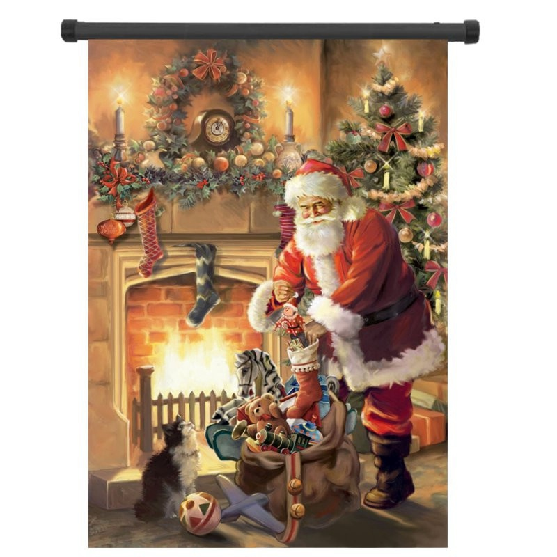 1pcs Santa Claus by Fireplace Christmas Tree Stockings Garden Flag Banner Painting Outdoor Decorative Fabric Painting Home Decor