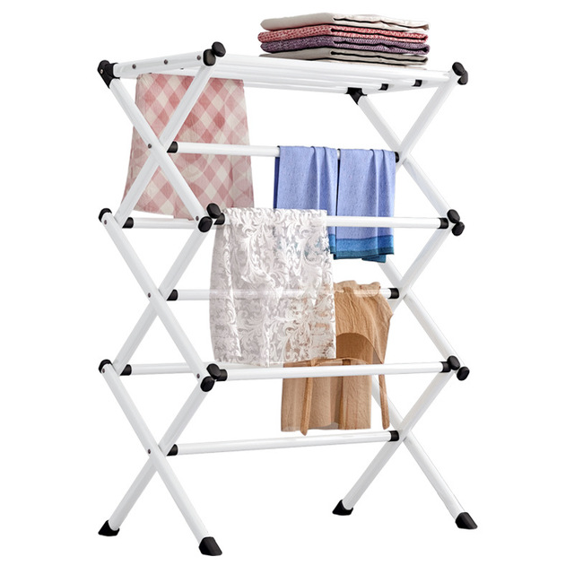 Simple Metal Coat Rack Folding Paiting Iron Fashion Clothing Drying Rack Towel Shelf Detachable Portable Home Storage Rack 4