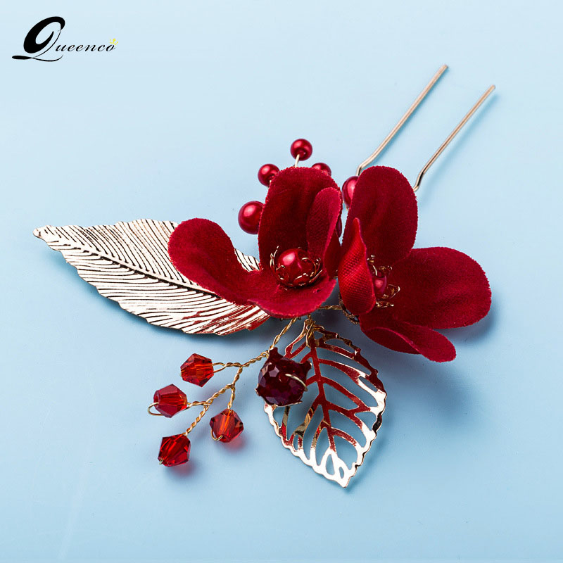Red Flower Hair Pins Gold Leaves Pearls Hair Stick Wedding Bridal Hair Accessories Romantic Girls Headpiece Party Jewelry