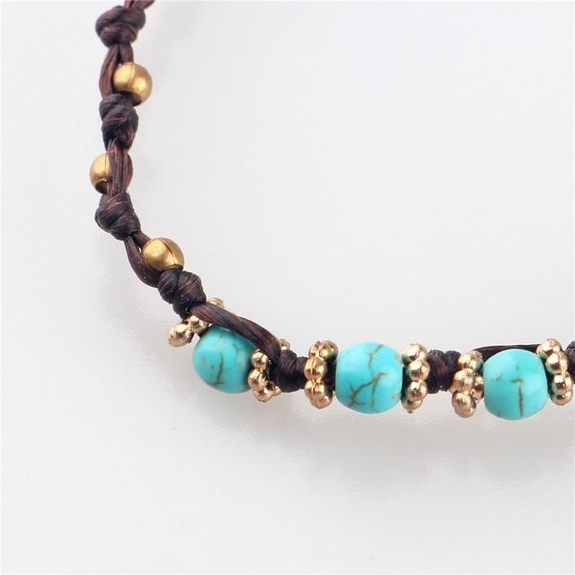 Женский винтажный браслет ручной работы плетеная цепочка с бусинами