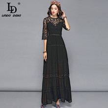 LD LINDA DELLA Fashion Designer Elegant Formal Party Dresses Women's 3/4 Sleeve Floral Embroidery Black Solid Maxi Long Dress цены