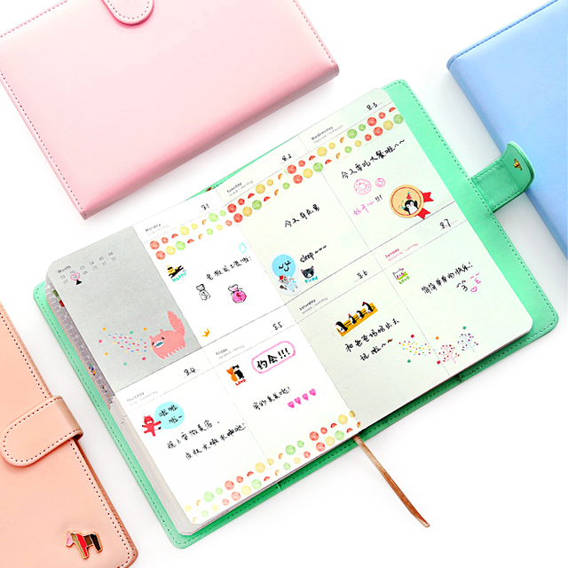 New Arrival Weekly Planner Sweet Notebook No Year Limit Creative Student Schedule Diary Book Color Pages School Supplies