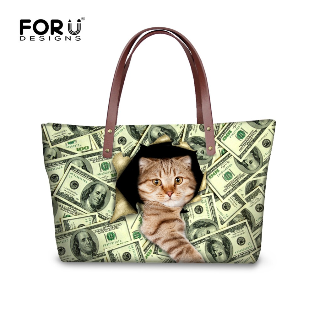 2871c247a3 FORUDESIGNS Tote Bag Women s Handbag Crystal Large Beach Bags Beautiful Cat  Bags Girls Waterproof Big Shoulder Summer Bags