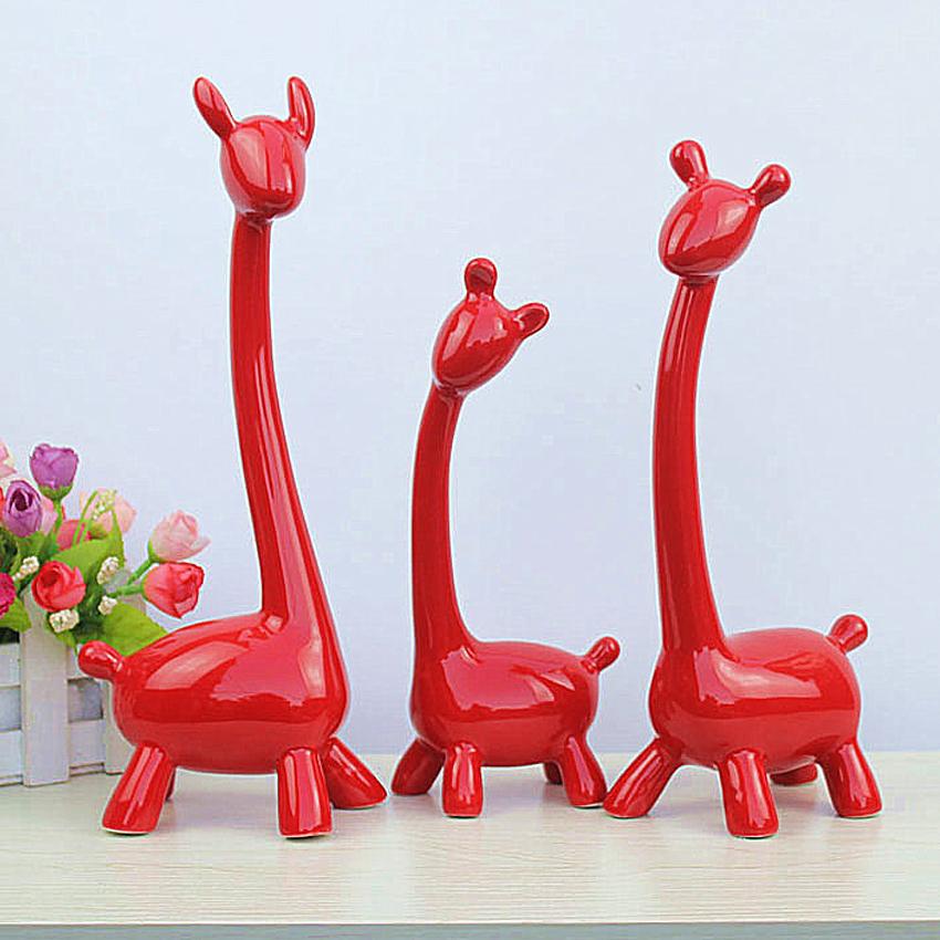 Kreative Eine Familie Drei Deer Dekoration Handwerk Tier Keramik Giraffe Figuren Skulptur Wohnzimmer Schmcken Hochzeit Geschenk