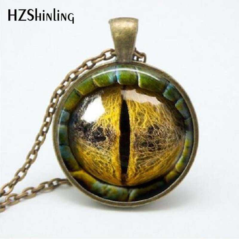 2017 New Trendy Dragon Eye Pendant Personality  Eyes Jewelry Glass Dome Necklaces For Men Link Chains HZ1