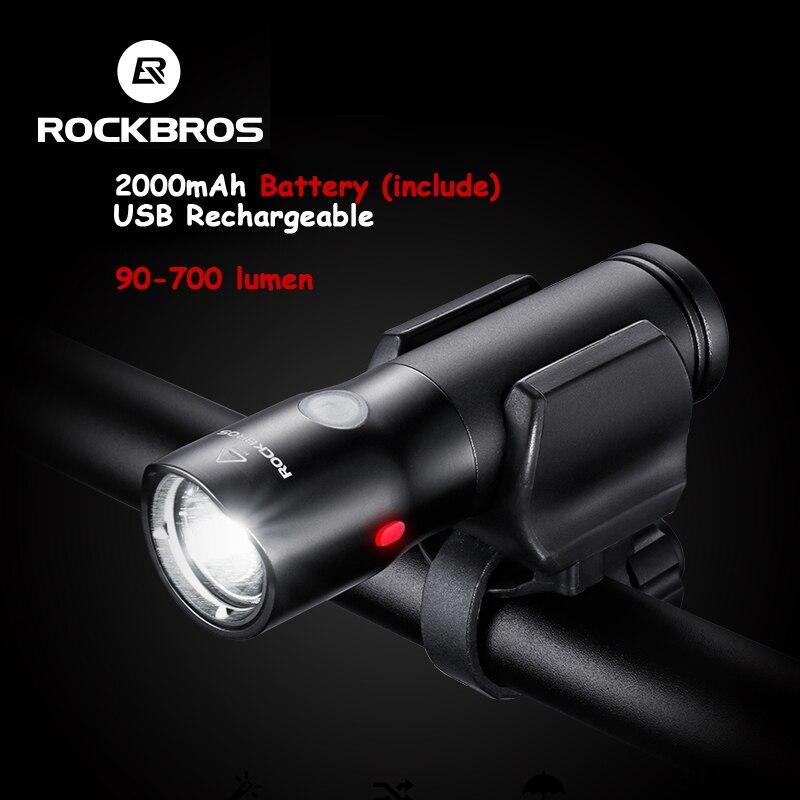 ROCKBROS vélo feux avant LED rechargeable par usb torche de poche 2000 mAH batterie externe mini vélo accessoires Cycle lumières