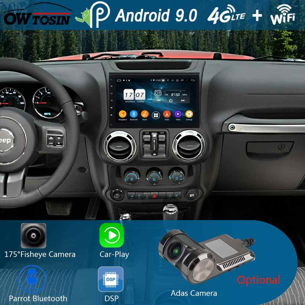 "10,1 ""ips 8 Core 4G + 64G Android 9,0 для Jeep Wrangler 3 JK 2011 2012 2013 2014 2015 2016 2017 автомобильный DVD плеер радио gps попугай BT"