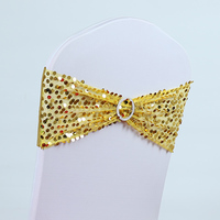 100pcs High Quality gold color Spandex chair band with buckle/ spandex sash/chair sash for chair cover wedding decoration