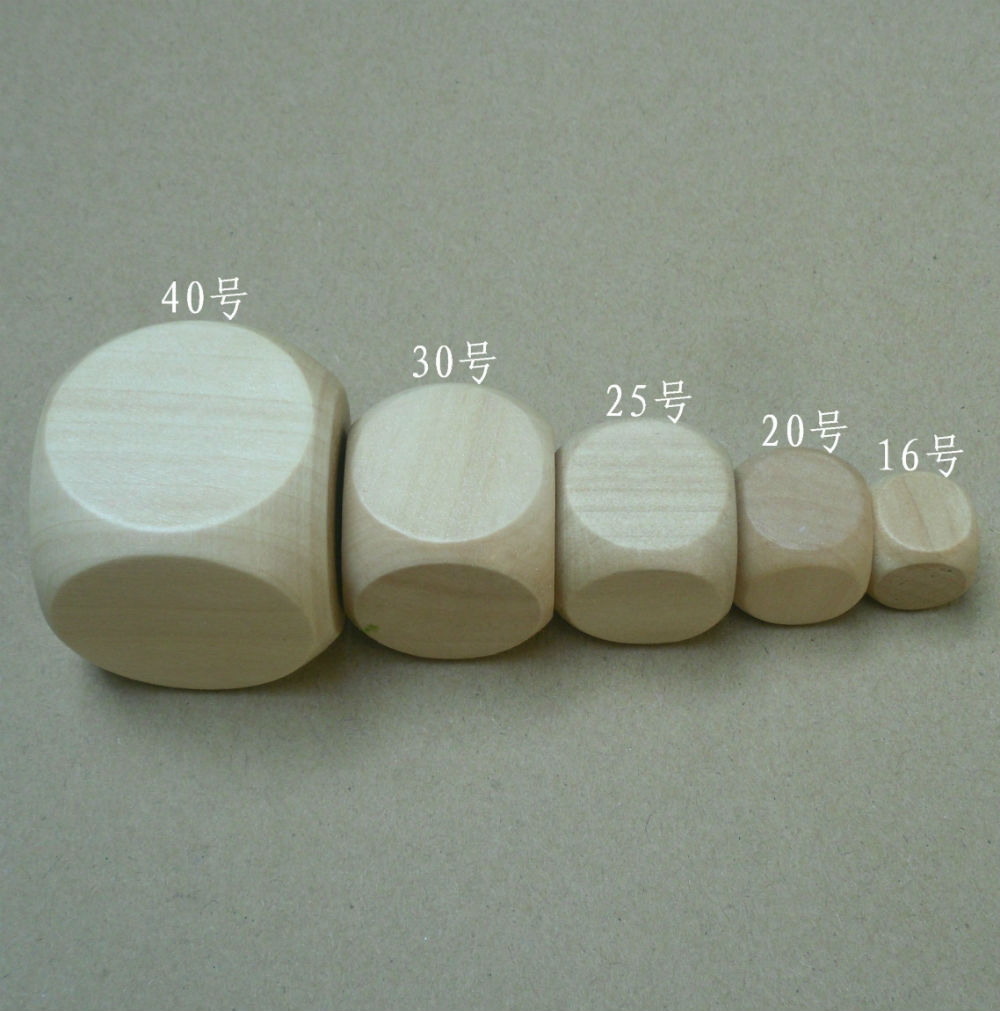 Free shipping 2pcs 6 sided 30mm wooden blank dice can be DIY carved by yoursef for