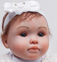 20 inch Christmas Gift Doll Lifelike Blue Eyes Reborn Baby Doll Girls Luxury Birthday Gift Set in White Princess Dress