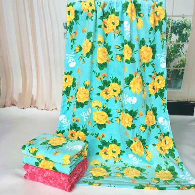 100 Cotton Golden Rose Pattern Beach Towel 73132cm Bath Towel