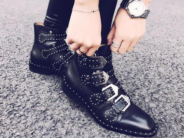 Knight Style Ladies Square Heel Boots Studded Leather Buckles Women Ankle Boots Spring Hot Female Fashion Street Boots Size 42 - 2