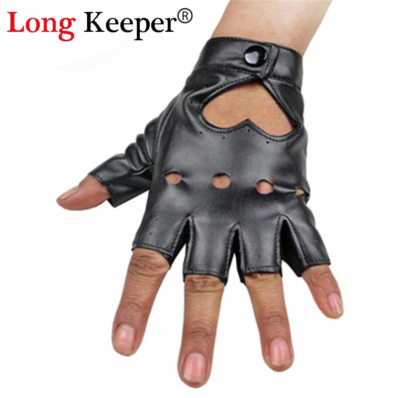 Women's Dancing Gloves Semi-finger Fitness Gloves Party Show Leather Gloves Breathable Fingerless Mittens For Women GL-80